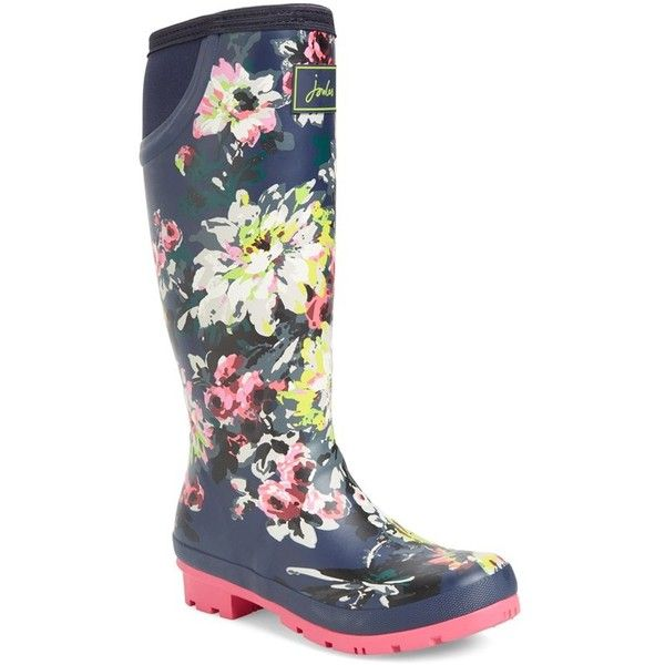 Women's Joules 'Neola' Rain Boot (80 CAD) ❤ liked on Polyvore featuring shoes, boots, french navy floral, wellington boots, navy blue shoes, rubber rain boots, navy rain boots and floral boots