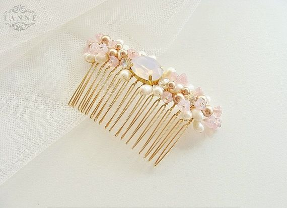 This delicate blush pink bridal hair comb is hand beaded with Rose Gold and Clear AB Swarovski pearls and crystals, ivory freshwater pearls, Pink