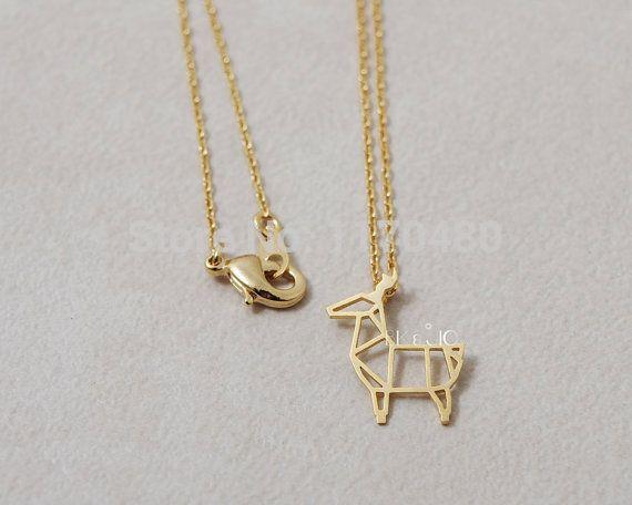 Мода оригами олень подвески в золотой и серебряный Necklaces для женщин простой довольно животных длинной цепи ожерелье ювелирные изделия   N067купить в магазине Jary Ho's storeнаAliExpress