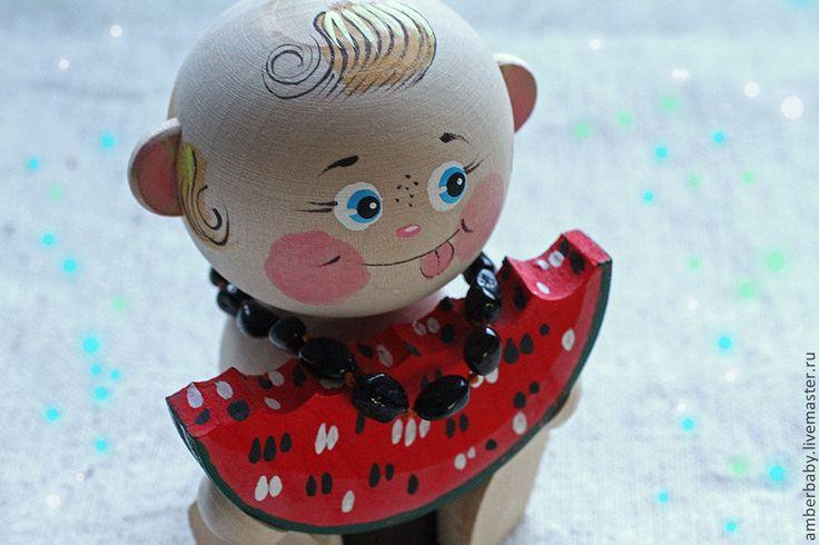 """Купить Обезболивающее детское ожерелье и браслет """"Арбузные семечки"""" - чёрный, однотонный, вишня, вишнёвый, красный"""