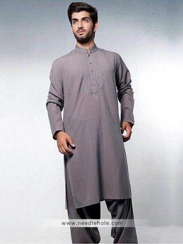 Men's #kurta suit in taupe gray color with embroidered collar and fronthttp://www.needlehole.com/taupe-gray-kurta-suit-for-men.html #Aijaz aslam #kurta shalwar suits and men's #salwar #kameez. Latest pakistani shalwar kameez designs, salwar suit and kurta shalwaar for men by aijaz aslam men's stores uk