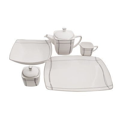 Shinepukur Ceramics USA, Inc. Imperial Square Bone China Traditional Serving 5 Piece Dinnerware Set
