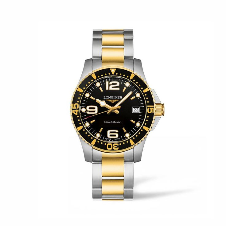 L33403567 Γυναικείο quartz ρολόι LONGINES HydroConquest με δίχρωμο χρυσό μπρασελέ, μαύρο καντράν και ημερομηνία | Ρολόγια ΤΣΑΛΔΑΡΗΣ στο Χαλάνδρι #hydroconquest #longines #ρολόι