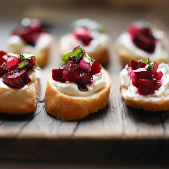 """Beet Bruschetta with balsamic, basil goat cheese (with a simple """"caterers"""" tip to making bruschetta.) Easy, festive and delicious!"""