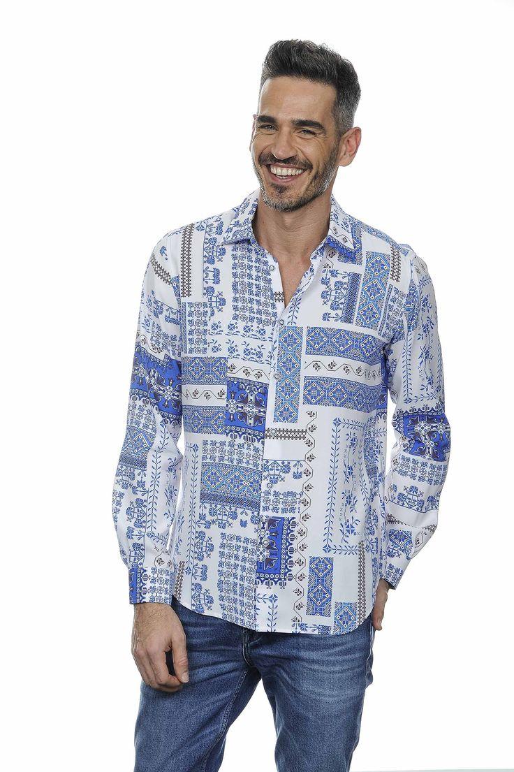 Camicia classica patchwork blu | UOMO PE 17