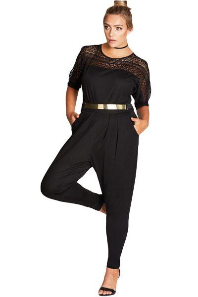 Black Lace Patchwork Cutout Plus Size Jumpsuit Plus Size Clothing