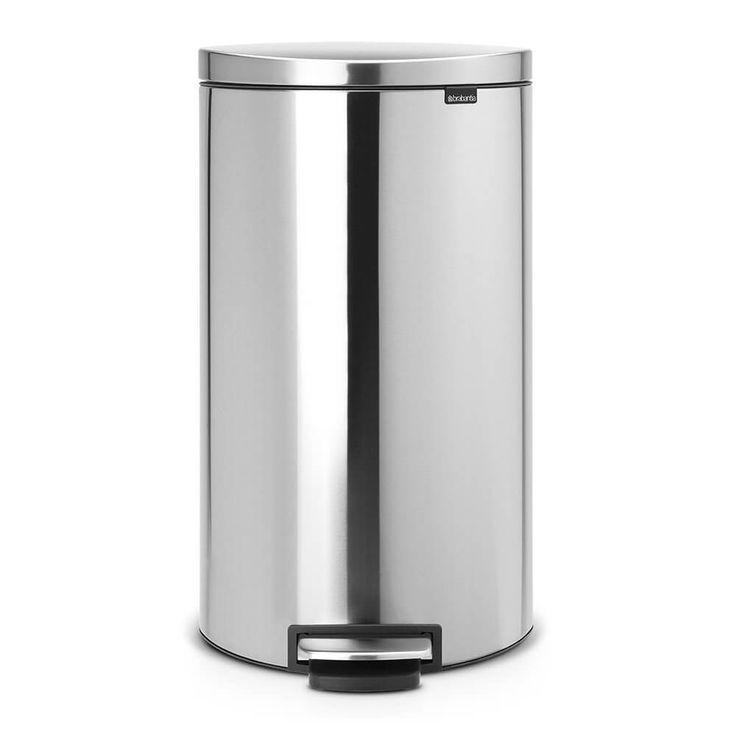 Poubelle à Pédale FlatBack+, 30 litres, fermeture silencieuse, seau intérieur plastique - Matt Steel Fingerprint Proof - Poubelles et corbeilles à papier - Gestion des déchets  | Brabantia