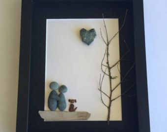 Unique Couple's Engagement Gift Pebble Art Gift by SticksnStone