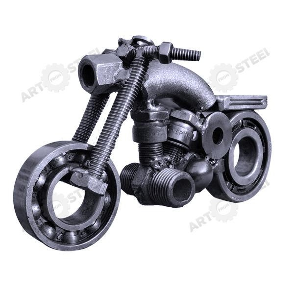 "Hand-Made Motorbike (4"") - Scrap Metal Sculpture. $24.99, via Etsy."