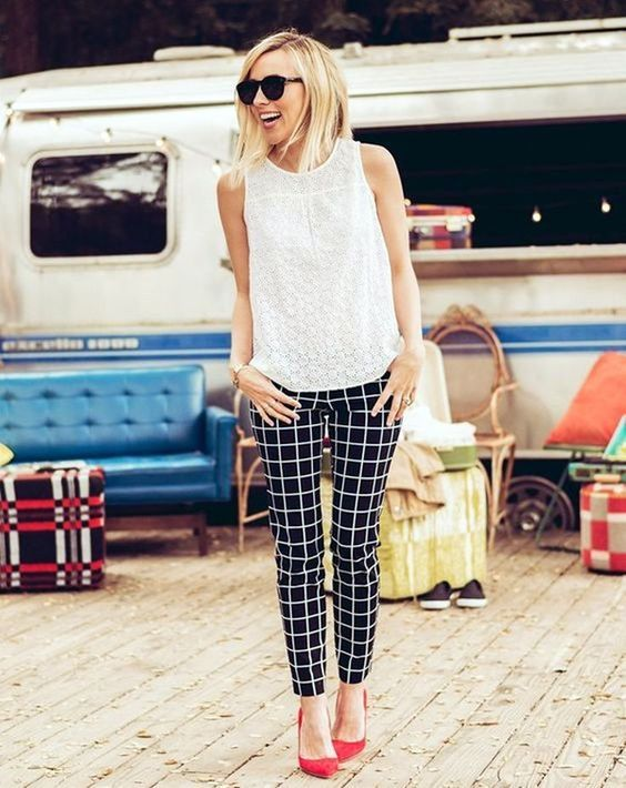 @roressclothes closet ideas #women fashion outfit #clothing style apparel Tank Top and Tartan Pants via