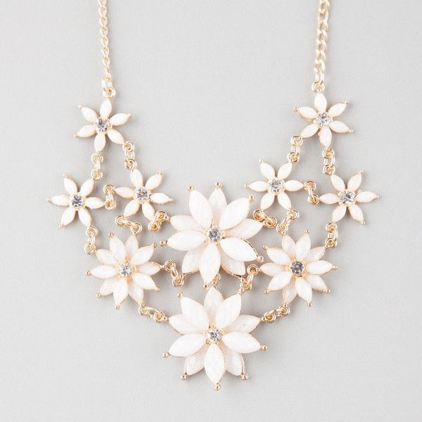 Full Tilt 2 Row Facet Flower Statement Necklace ($9.99) ❤ liked on Polyvore featuring jewelry, necklaces, accessories, white, flower jewelry, flower necklace, white jewelry, full tilt jewelry and flower jewellery