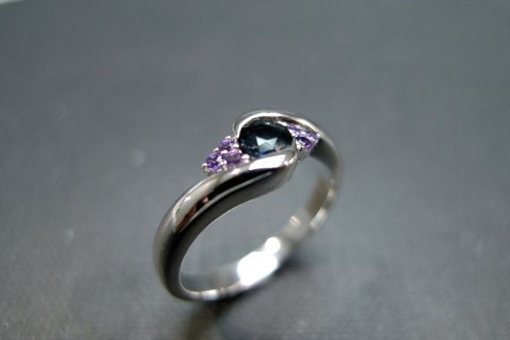 Blue Sapphire with Amethyst Engagement Ring in by honngaijewelry, $695.00