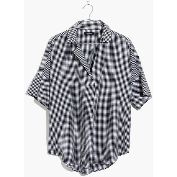 MADEWELL Courier Button-Back Shirt in Gingham Check ($70) ❤ liked on Polyvore featuring tops, true black, gingham print shirt, button down back shirt, boxy shirt, over sized shirts and madewell tops