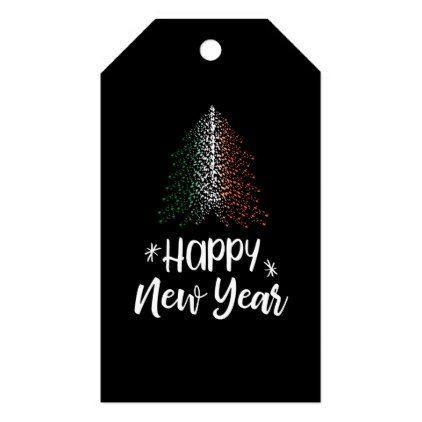 Happy New Year Christmas tree with Irish flag Gift Tags - christmas craft supplies cyo merry xmas santa claus family holidays