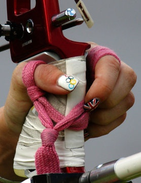 Amy Oliver, Team GB Archer, with Union Jack and Olympic rings nail art