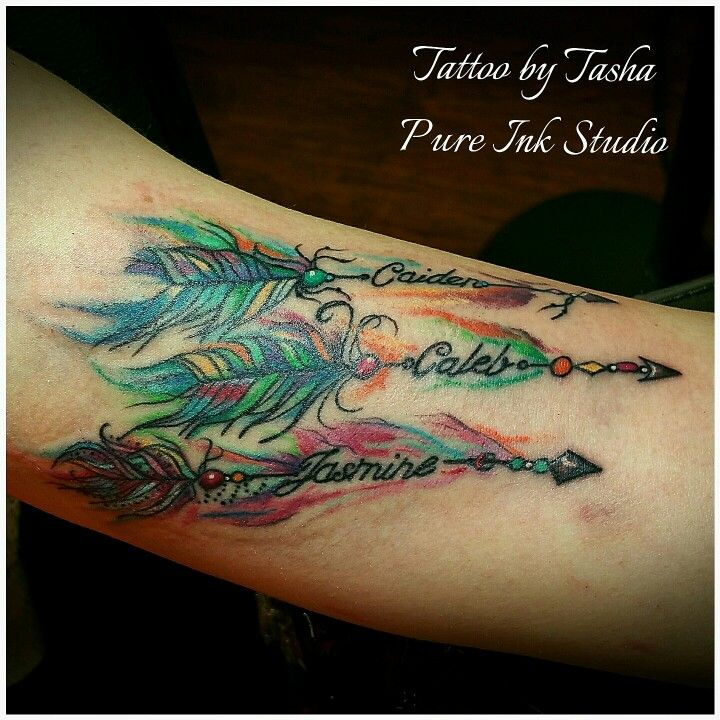 Watercolor arrows tattoo with birthstones