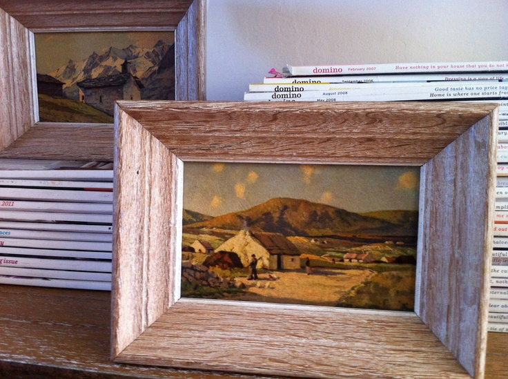 Pair Of Small Antique Driftwood Framed Art From Franklin