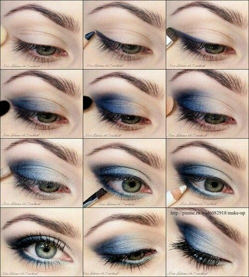 maquillaje sombras azules paso paso