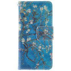 Apricot Blossom Design PU and TPU Full Body Case with Stand and Card Holder for iPhone 5C