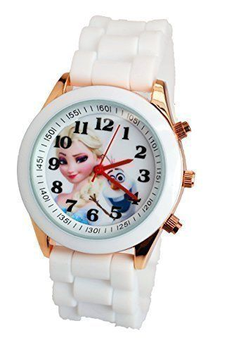 Disney Frozen Watch For Girls W/Fashion Buttons. Silicone Strap. Large Analog Display. DISNEY LICENSED MERCHANDISE. JAPAN QUARTZ MOVEMENT,ANALOG DISPLAY. MATERIAL: STAINLESS STEEL WATCH BACK.Silicone Strap. WITHSTANDS RAIN AND SPLASHES OF WATER BUT NOT SHOWERING OR SUBMERSION.