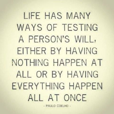 """""""Life has many ways of testing a person's will, either by having nothing happen at all or by having everything happen all at once."""" - Paulo Coelho #quote"""
