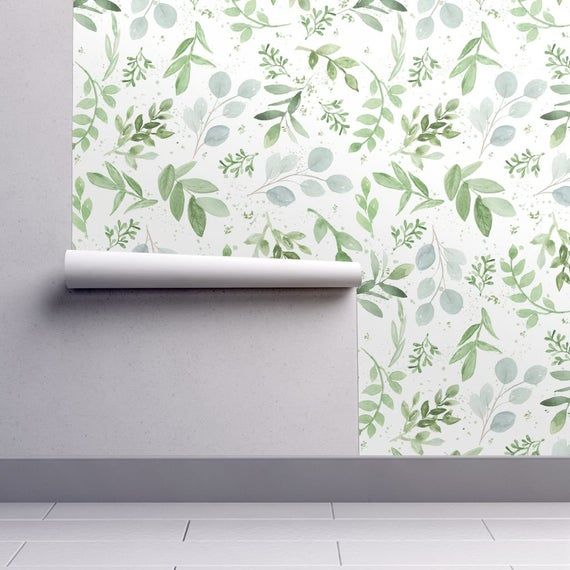 Eucalyptus Wallpaper Watercolor Larger Leaves By Daily Etsy Spoonflower Wallpaper Self Adhesive Wallpaper Wallpaper Roll