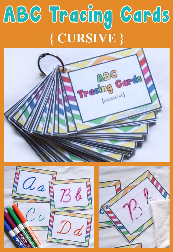 Creative Homeschool: ABC Tracing Cards {IN CURSIVE}