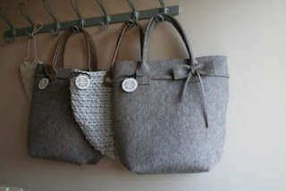 Authentique Mignon, chunky knit, felt, tote bags