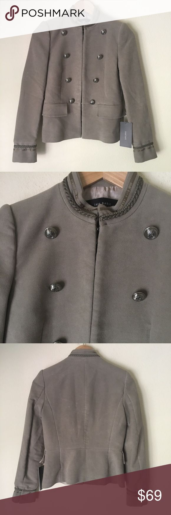Zara Military Style Coat XS NWT Zara Coat. Grey/cement color. Silver ornate buttons. Hooks to close the jacket: Zara Jackets & Coats Blazers