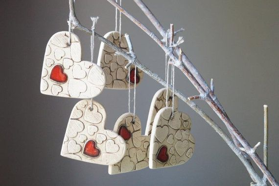 Wedding Ornament Set of 6 Red Heart Hanging Ornament by bemika