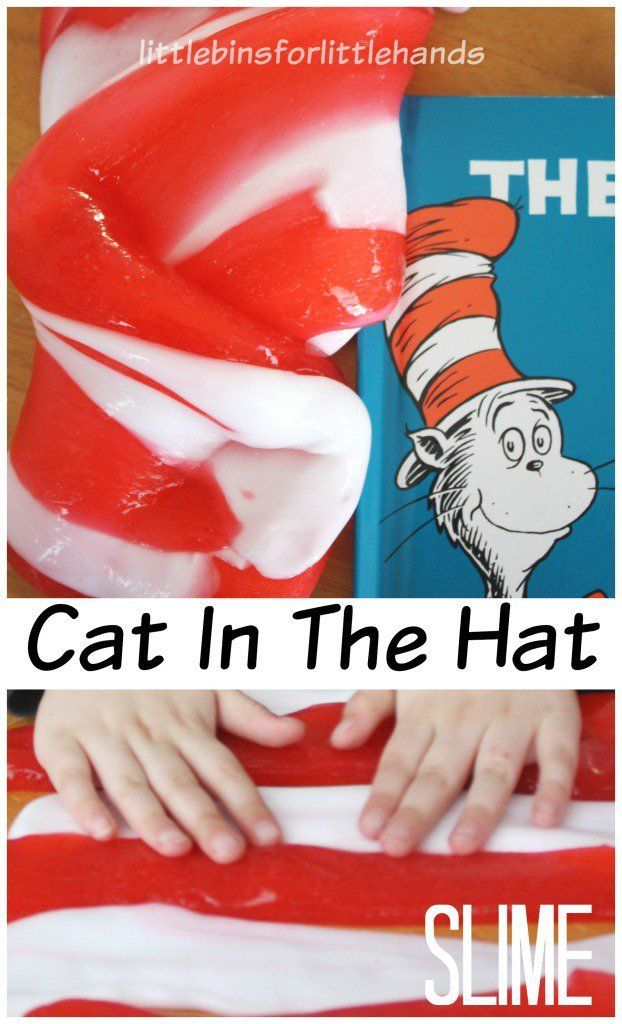Make Cat In The Hat Slime! Celebrate Read Across America and Dr. Seuss with a fun science themed book activity. Make slime with our simple recipe for sensory and science all in one activity.