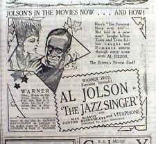 "1927 NY Times w AD for 1st ""Talkiing"" Movie THE JAZZ SINGER starring AL JOLSON"