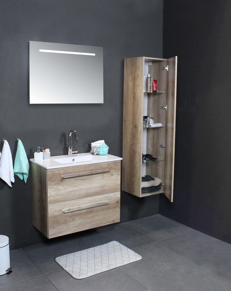 Basic Line - Sanibell -  hoge kast - 39 - 46 - fonteinen - accessoires - basicline - lookbook - porselein - acryl - wastafel - whisky - oak - scotch - oak - ice - white - grepen - greeploos - softclose - ladesysteem - ondiep - ruimtebesparend - opbergruimte - onderkast - spiegel - spiegelkast - HIT fontein - fonteinpack - badkamer - badkamermeubel - bathroom