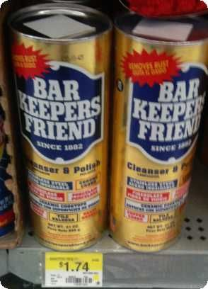 Bar Keepers Friend is the best all purpose cleaner that can clean the toughest jobs.  I use it on stainless steal, glass top stove, removes scratches from ceramic dinnerware, removes rust. At this price, I keep one in the kitchen and another in the bathroom. It cleans silver & brass too!
