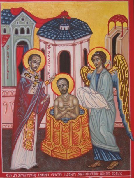 Battesimo di S.Agostino da icona quadripartita. www.mirabileydio.it