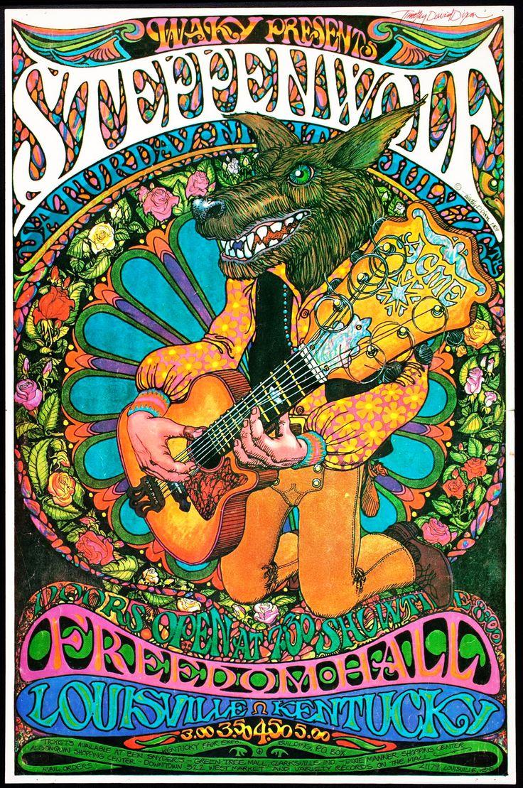 Vintage, retro, hippie, classic rock concert poster - Steppenwolf