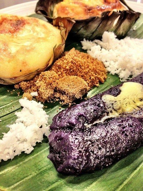 Bibingka and Puto Bumbong. Pinoy food :)  I miss these. Especially bibingka. Yummmm.