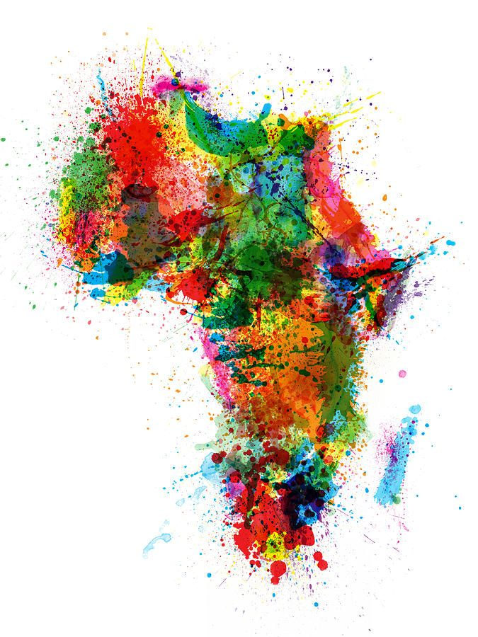 Paint splashes map of Africa.  this map of Africa is similar to the UK one, but I like this one more, because those colours are much brighter and I think that the artist used the bigger variety of the colour palette for this image. I would like to create something similar to this for my final piece, or I can create about two or three final pieces for this project.