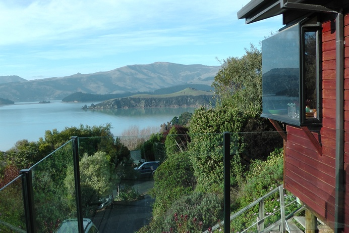 kitchen bay window from the outside front deck looking over to Mount Bradley and King Billy Island, Charteris Bay