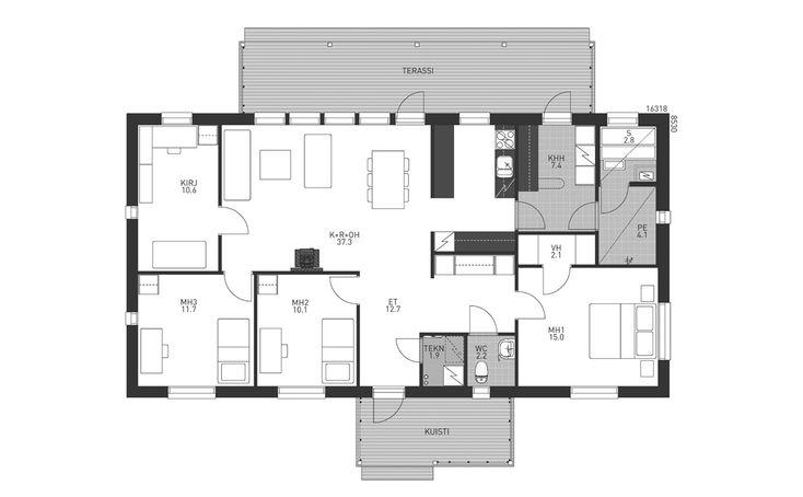 Avara ja pohjaratkaisultaan käytännöllinen talomalli. Olohuoneen jatkona olevasta kirjastosta saa kotiteatterin tai tarvittaessa neljännen makuuhuoneen. Suurimman makuuhuoneen sijoittelu talon toisessa päässä takaa oman rauhan. Käytännöllinen keittiösaareke antaa lisää laskutilaa. Isolle terassille on käynti olohuoneen lisäksi myössuoraan kodinhoitohuoneesta.