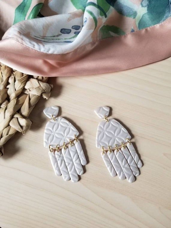 The Boho Bridal Collection organic triangles Polymer clay earrings