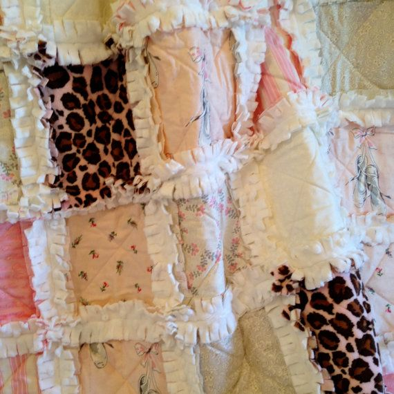 Crib Rag Quilt Pink Gray Brown Crib Bedding Baby by CottageDome