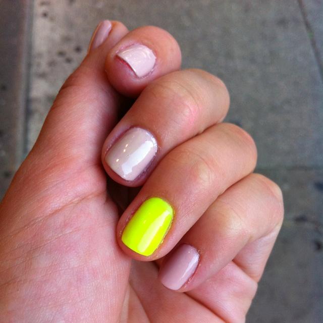 Neutral + neon nails manicure