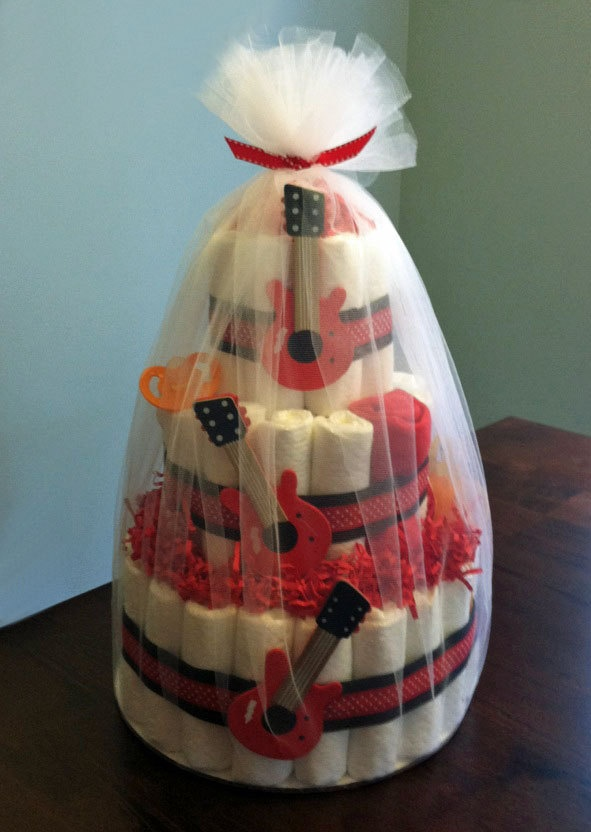 Rock Star Guitar Diaper Cake Three Tier Baby Shower Gift