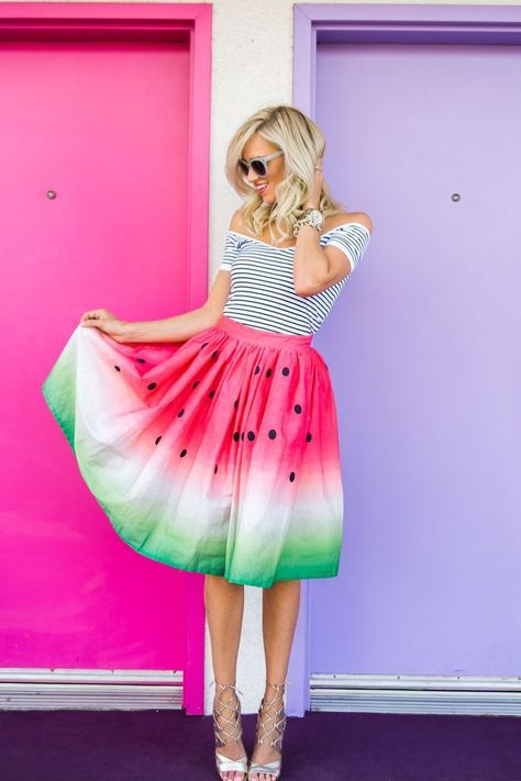 Dip dye watermelon skirt.