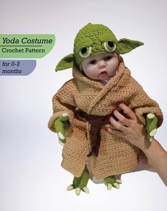 2020 Handmade Knitted Baby Star Wars Yoda Costume Newborn Photography Props Set