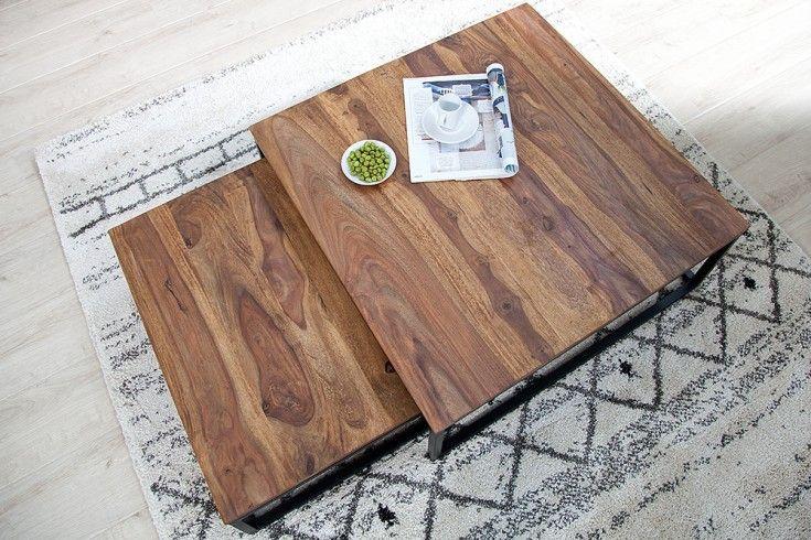 Design Couchtisch 2er Set Big Fusion 75cm Sheesham Stone Finish Eisen Schwarz Matt Table Basse Bois Massif