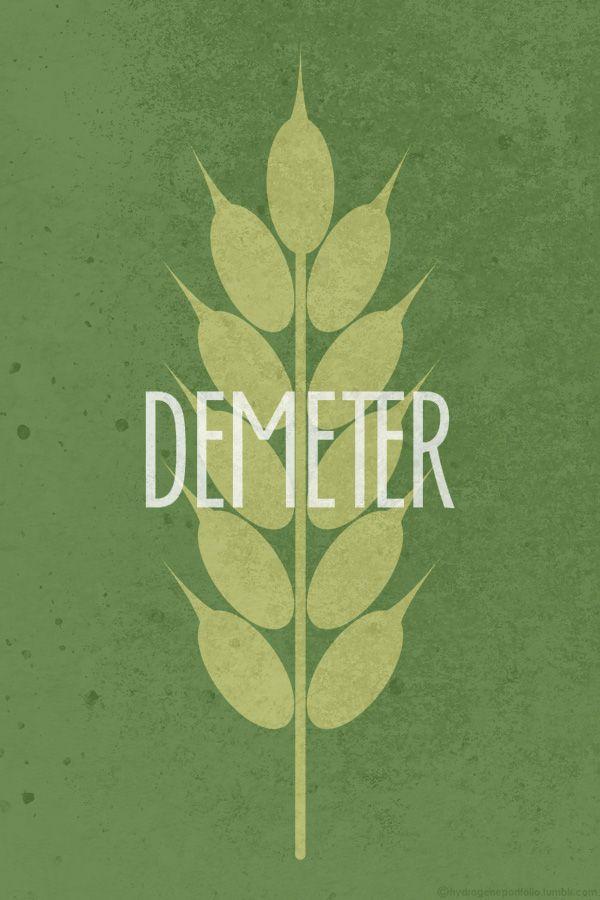 Demeter Deméter o Demetra (en griego antiguo Δημήτηρ o Δημητρα, 'diosa madre' o quizás 'madre distribuidora', quizá del sustantivo indoeuropeo *dheghom *mater) es la diosa griega de la agricultura, nutricia pura de la tierra verde y joven, ciclo vivificador de la vida y la muerte, y protectora del matrimonio y la ley sagrada. Se la venera como la «portadora de las estaciones» en un himno homérico, un sutil signo de que era adorada mucho antes de la llegada de los olímpicos. El himno…
