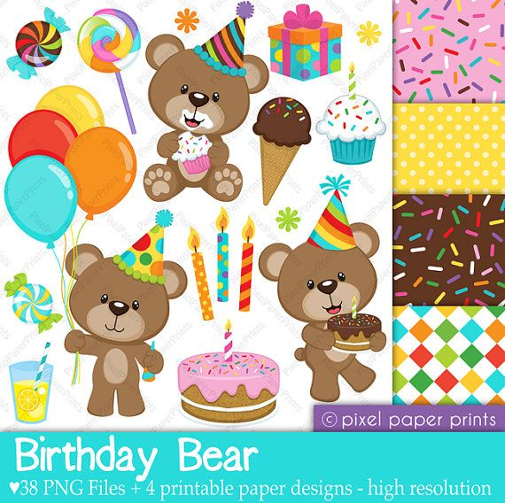 Birthday Bear - Set de Clip Art y Papeles Digitales