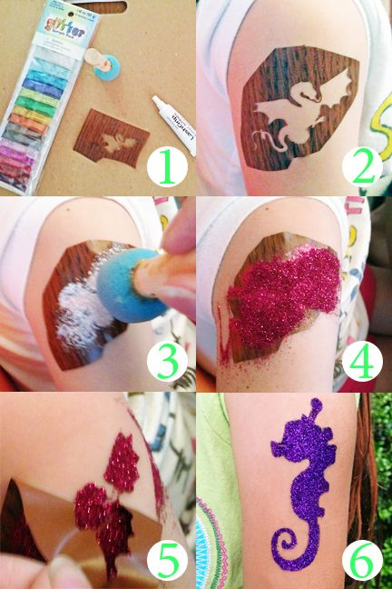 DIY Glitter Tattoos uses contact paper stencils and eyelash adhesive!